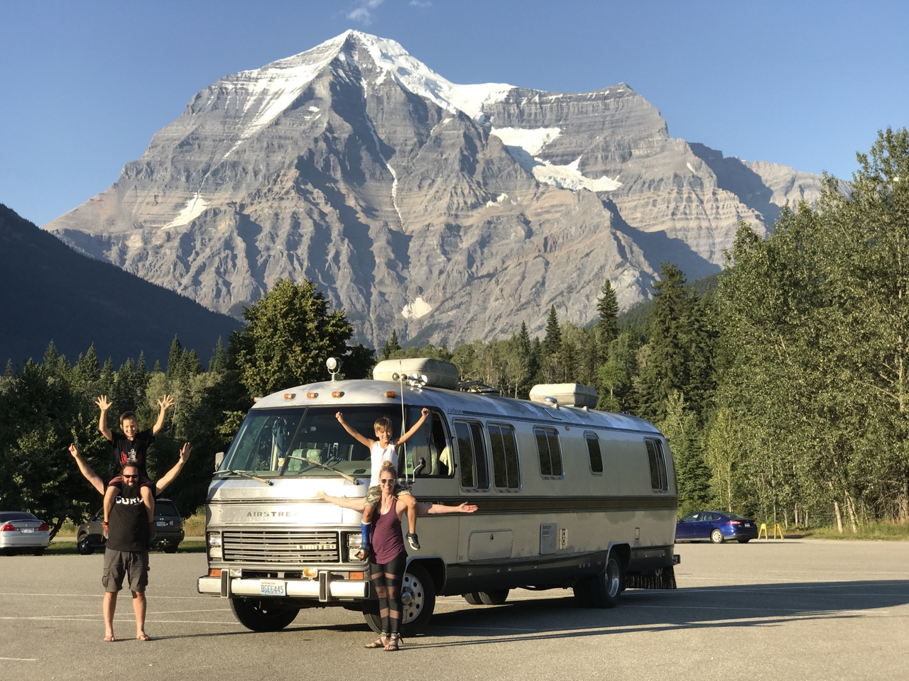 The Wild Family celebrating our new purchase in front of Mt Robson